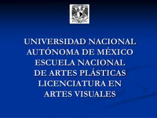 UNIVERSIDAD NACIONAL AUTÓNOMA DE MÉXICO ESCUELA NACIONAL DE ARTES PLÁSTICAS LICENCIATURA EN