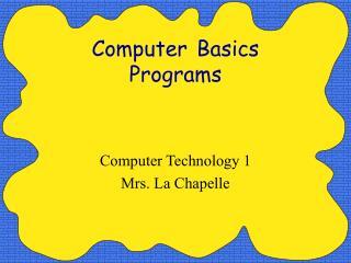 Computer Basics Programs