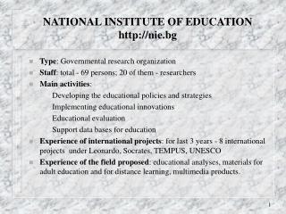 L INSTITUTE OF EDUCATION