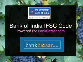 Bank of India IFSC Code Bangalore
