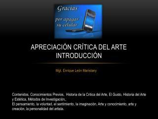 Apreciación crítica del ARTE introducción