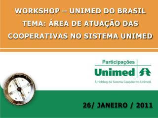 WORKSHOP – UNIMED DO BRASIL TEMA: ÁREA DE ATUAÇÃO DAS COOPERATIVAS NO SISTEMA UNIMED