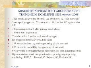 MINORITETSSPR KLIGE I GRUNNSKOLEN I TRONDHEIM KOMMUNE GSI, oktober 2008