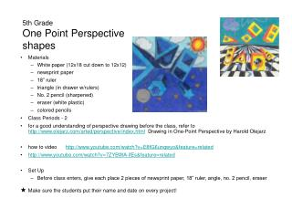 5th Grade One Point Perspective shapes
