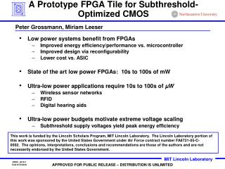 A Prototype FPGA Tile for Subthreshold-Optimized CMOS