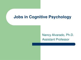 Jobs in Cognitive Psychology