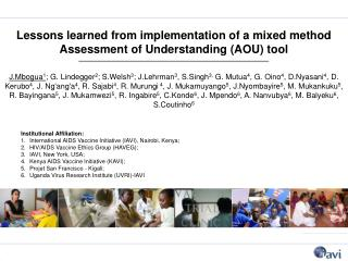 Lessons learned from implementation of a mixed method Assessment of Understanding (AOU) tool