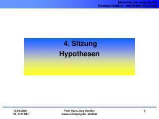 4. Sitzung  Hypothesen