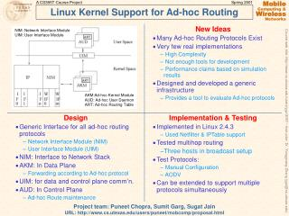 Linux Kernel Support for Ad-hoc Routing