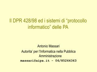 """Il DPR 428/98 ed i sistemi di """"protocollo informatico"""" delle PA"""