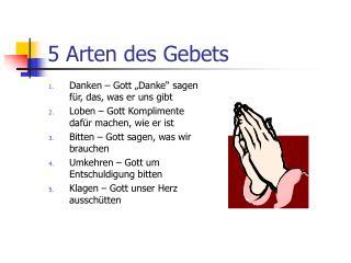 5 Arten des Gebets