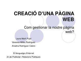 CREACIÓ D'UNA PÀGINA WEB