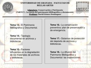 Tema 13.-  El Patrimonio Bibliográfico y Documental.