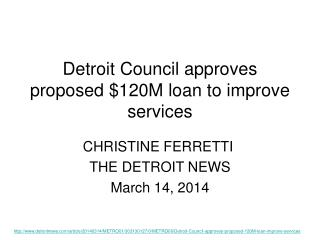Detroit Council approves proposed $120M loan to improve services