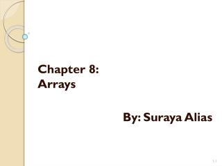 Chapter 8: Arrays By:  Suraya  Alias