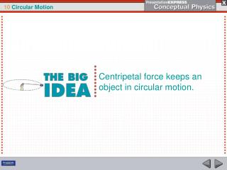 Centripetal force keeps an object in circular motion.
