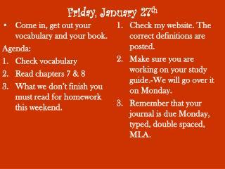 Friday, January 27 th