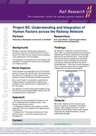 Project B2: Understanding and Integration of Human Factors across the Railway Network