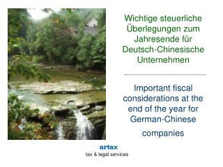 Wichtige steuerliche Überlegungen zum Jahresende für Deutsch-Chinesische Unternehmen