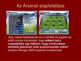 Az Arsenal alapfelállása