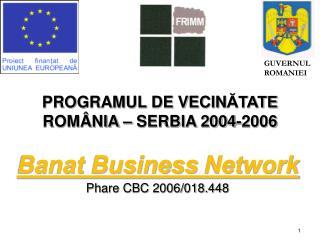 PROGRAMUL DE VECIN ĂTATE  ROMÂNIA – SERBIA 2004-2006