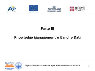 Parte III Knowledge Management e Banche Dati