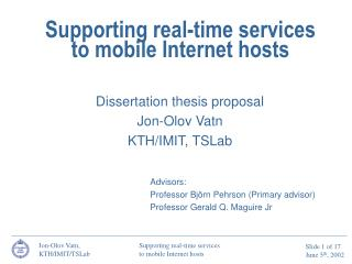 Supporting real-time services to mobile Internet hosts