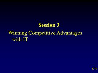 Session 3 Winning Competitive Advantages with IT