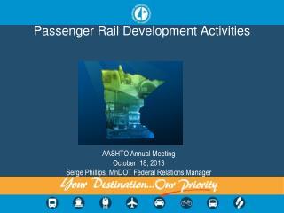 Passenger Rail Development Activities