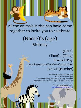 All the animals in the zoo have come together to invite you to celebrate
