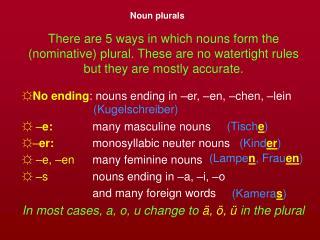Noun plurals