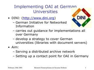 Implementing OAI at German Universities