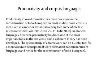 Productivity  and corpus  languages