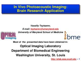 In Vivo Photoacoustic Imaging: Brain Research Application