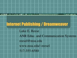 Internet Publishing / Dreamweaver