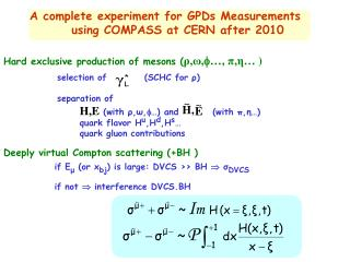 A complete experiment for GPDs Measurements      using COMPASS at CERN after 2010