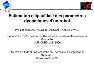Estimation ellipsoïdale des paramètres dynamiques d'un robot
