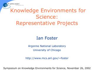 Knowledge Environments for Science: Representative Projects