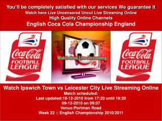 Ipswich Town vs Leicester City Live - Stream