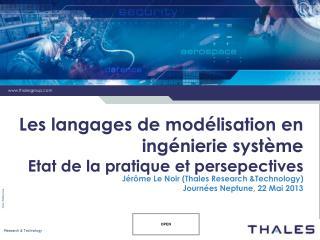Les langages de modélisation en ingénierie système Etat de la pratique et persepectives