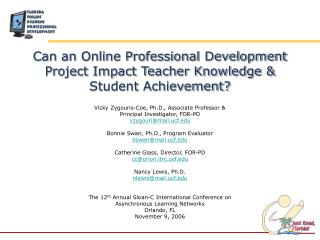 Can an Online Professional Development Project Impact Teacher Knowledge & Student Achievement?