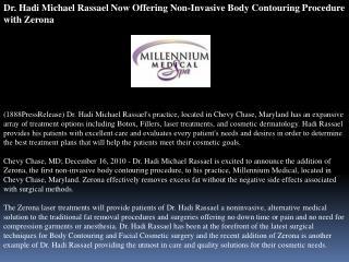 Dr. Hadi Michael Rassael Now Offering Non-Invasive Body Cont