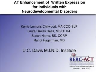 AT Enhancement of  Written Expression  for Individuals with  Neurodevelopmental Disorders