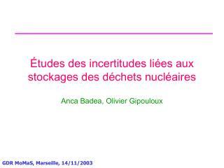 Études des incertitudes liées aux stockages des déchets nucléaires
