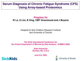 Serum Diagnosis of Chronic Fatigue Syndrome (CFS) Using Array-based Proteomics
