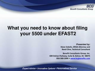 What you need to know about filing  your 5500 under EFAST2