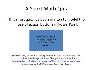 A  Short Math Quiz