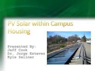 PV Solar within Campus Housing