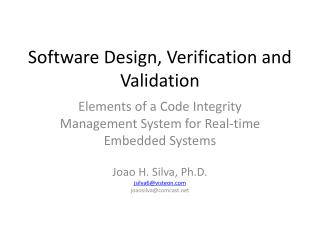 Software Design, Verification and Validation