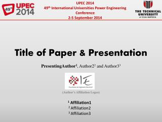 UPEC 2014 49 th  International Universities Power Engineering Conference 2-5 September 2014